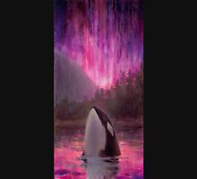 Aurora Orca - Killer Whale and Northern lights Coastal Painting Unisex T-Shirt