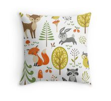 Cute Colorful Pastel Tones Stylized Forest & Animals Illustration  Throw Pillow
