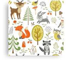 Cute Colorful Pastel Tones Stylized Forest & Animals Illustration  Metal Print