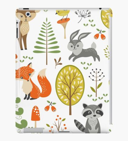 Cute Colorful Pastel Tones Stylized Forest & Animals Illustration  iPad Case/Skin