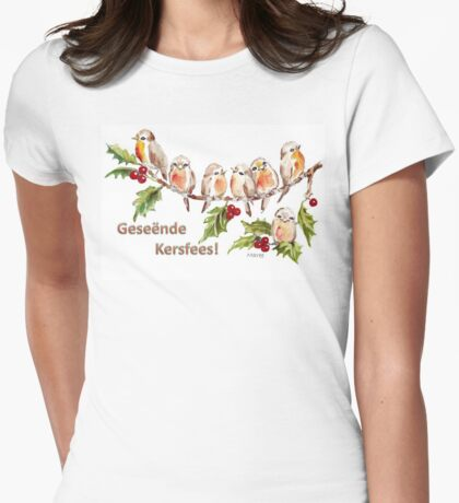 Geseënde Kersfees! Womens Fitted T-Shirt