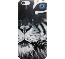 Black and White Tiger Blue Eyes iPhone Case/Skin