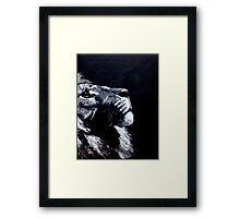 Black and White Lion Green Eyes Framed Print