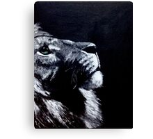 Black and White Lion Green Eyes Canvas Print