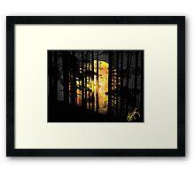 Moon n Mountain Trees Framed Print