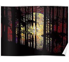 Moon n Red Mountain Trees Poster