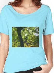 Tree Silhouette with Backlit Leaves Women's Relaxed Fit T-Shirt