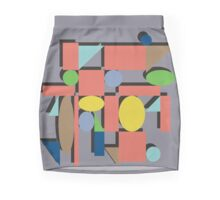Geometric Flat Abstract Halftone Shapes Trendy Spring Colors Mini Skirt