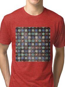 Retro pattern old geometrical grunge textile print fabric background Tri-blend T-Shirt