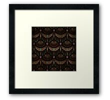 Retro pattern old art deco grunge textile print fabric background Framed Print