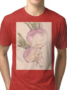 Sweet, delicate Turnips, Vegan delight - Botanical Tri-blend T-Shirt