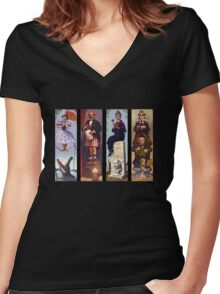 Haunted mansion all character Women's Fitted V-Neck T-Shirt