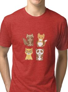 raccoon, panda, fox, cat on polka dot background Tri-blend T-Shirt