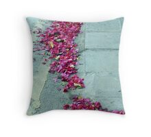 Petals on sidewalk and road, Cyprus Throw Pillow