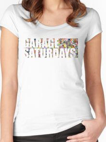 Garage Saturdays sticker bomb Women's Fitted Scoop T-Shirt