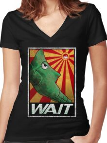To be patient for win. Women's Fitted V-Neck T-Shirt