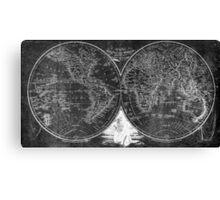 World Map (1811) Black & White Canvas Print