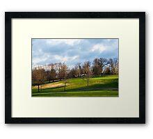Golf Course At Sunset Framed Print