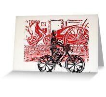 Black & Red Print - Flower Wheels Greeting Card