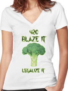 Broccoli 420 Women's Fitted V-Neck T-Shirt