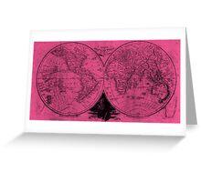 World (1811) Pink & Black  Greeting Card
