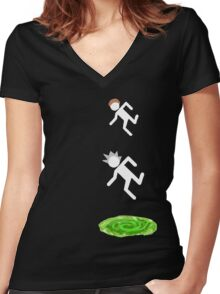rick and morty 3 Women's Fitted V-Neck T-Shirt
