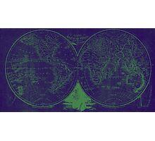 World Map (1811) Blue & Green Photographic Print