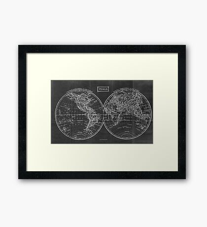 Vintage Map of The World (1857) Black & White Framed Print