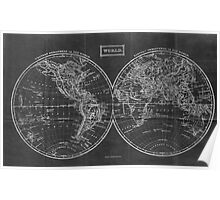 Vintage Map of The World (1857) Black & White Poster
