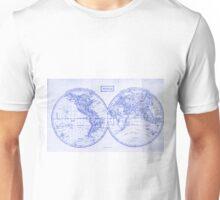 Vintage Map of The World (1857) White & Blue Unisex T-Shirt