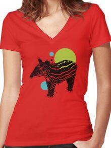 Little tapir Women's Fitted V-Neck T-Shirt