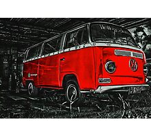 Red combi Volkswagen side _edited version Photographic Print