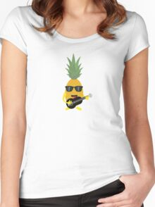 Rock 'n' Roll Pineapple Women's Fitted Scoop T-Shirt