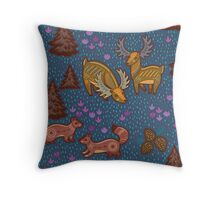 National park with deers Throw Pillow