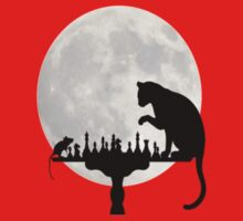 Cat and Rat Playing Chess  One Piece - Short Sleeve