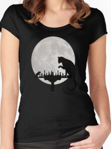 Cat and Rat Playing Chess  Women's Fitted Scoop T-Shirt