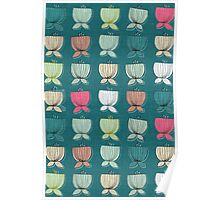 flower cups teal Poster