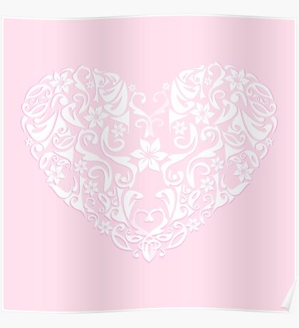 abstract pink love heart,vector illustration Poster