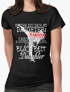 Funny Daughter Shirt Date Dating Mom Dad Martial Arts Teen Karate Taekwondo Womens Fitted T-Shirt