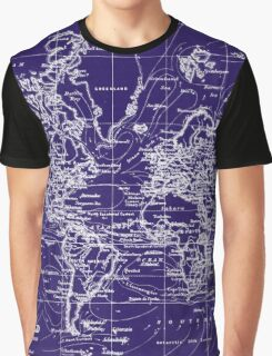 World Map (1899) Blue & White Graphic T-Shirt