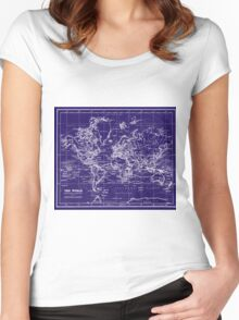 World Map (1899) Blue & White Women's Fitted Scoop T-Shirt