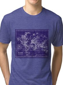 World Map (1899) Blue & White Tri-blend T-Shirt