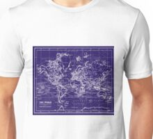 World Map (1899) Blue & White Unisex T-Shirt
