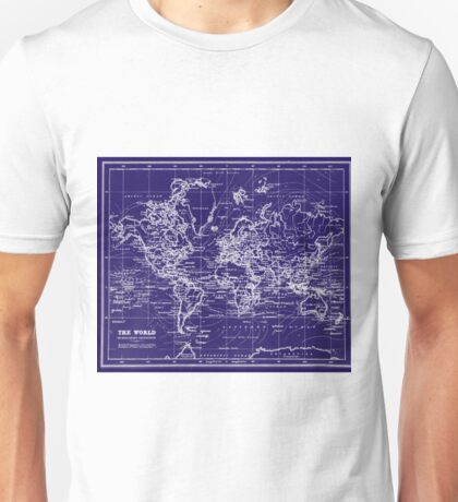 World Map (1899) Blue & White Unisex T-Shirt