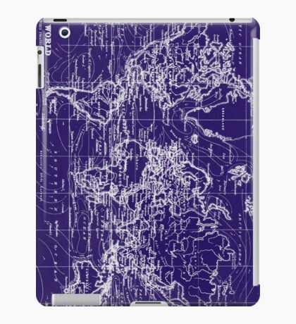 World Map (1899) Blue & White iPad Case/Skin