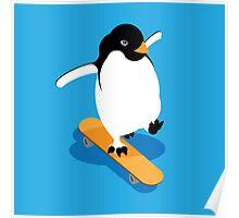 Skateboarding Penguin Poster