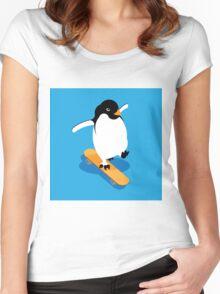 Skateboarding Penguin Women's Fitted Scoop T-Shirt