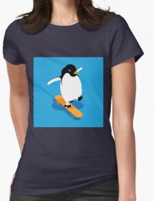 Skateboarding Penguin Womens Fitted T-Shirt