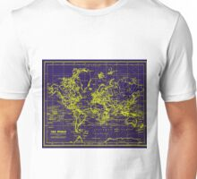 World Map (1899) Blue & Yellow Unisex T-Shirt