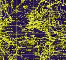 World Map (1899) Blue & Yellow Sticker